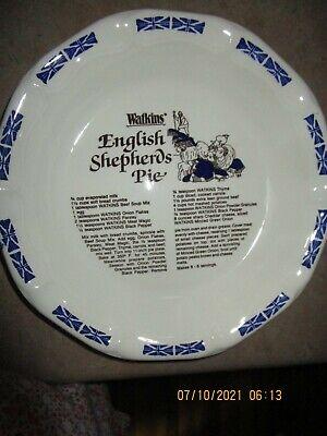 "VINTAGE  1983 Watkins 11"" pie plate w/ recipe  English Shepherds Pie"