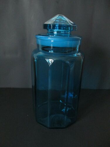 """Vintage L. E. Smith Extra Large 11 1/2"""" Tall Blue Glass Apothecary Jar"""