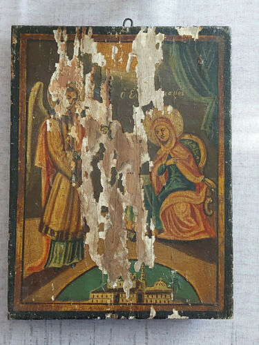 Antique Greek Byzantine Icon Annunciation of Virgin Mary Hand painted!!!