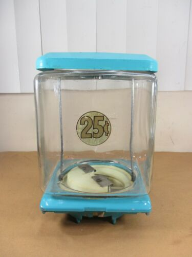 Vtg Northwestern 25¢ Gumball SQUARE EMBOSSED GLASS Globe Machine Top Lid Base