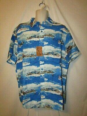 mens margaritaville tropical linen shirt L nwt sailing holiday blue