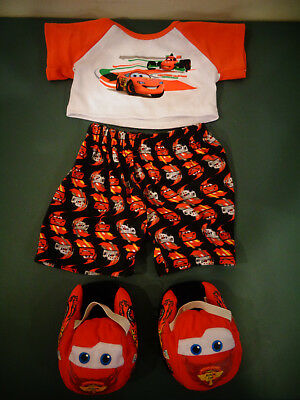 BUILD A BEAR BAB DISNEY CARS LIGHTNING MCQUEEN PJ'S PAJAMA'S SET OUTFIT SLIPPERS ()