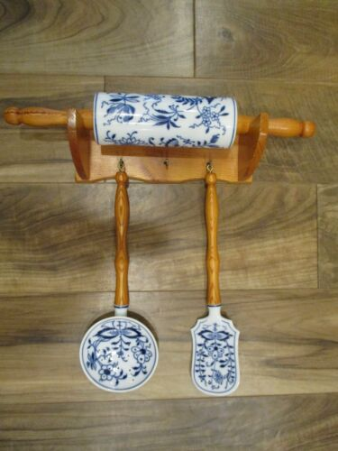 Blue Onion Meissen Porcelain China Kitchen Set: Rolling Pin+DisplayShelf+Utensil