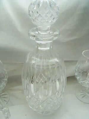 Waterford Lismore  Brandy Decanter W/Stopper  Four Brandy Sniffer Glasses -