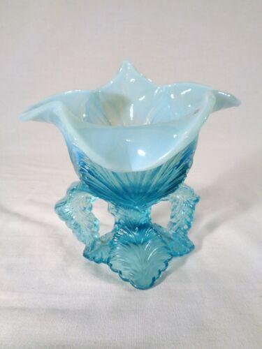 Northwood Leaf Challis in Blue Opalescent Glass circa 1903