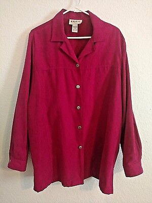 ELCC Fuchsia button up career faux suede jacket size XL 1X button blouse top GUC Fuchsia Suede Tops