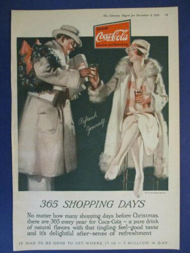 1926 COCA COLA CHRISTMAS XMAS AD SODA POP BEVERAGE DRINK COKE WREATH SHOPPING