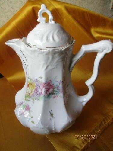 Antique Unmarked Porcelain Chocolate Pot Floral