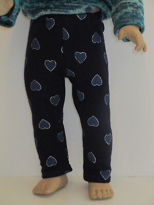 """Sparkly Hearts/Navy Leggings for 18"""" Doll American Girl Doll Clothes"""