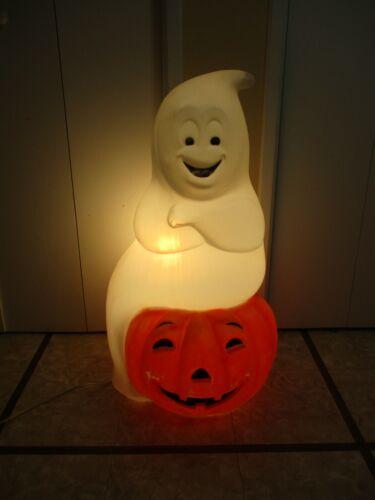 Vintage HUGE Smiling Ghost Sitting Pumpkin Lighted Halloween Blow Mold Empire 34