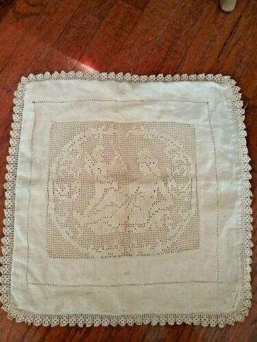 """antique Edwardian ecru linen and crochet handmade pillow sham 17"""" sq."""