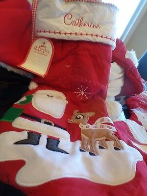 "Pottery Barn Kids Rudolph Christmas stocking monogrammed ""Catherine"" New"