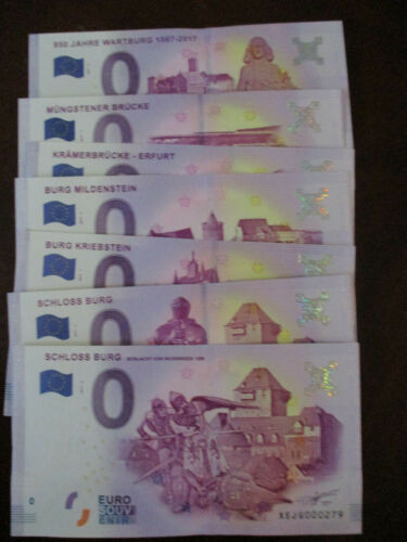 Set Of 7 Zero Euro Note