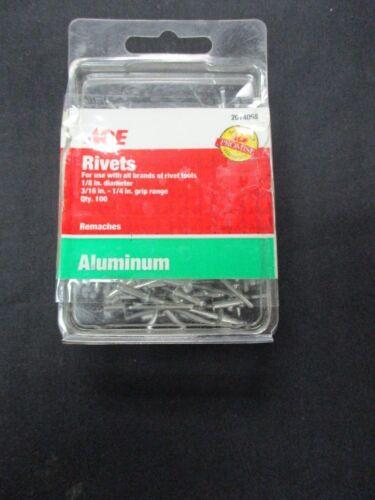 """ACE 2014058 New 1/8"""" (3/16""""-1/4"""") Aluminum Grip Range Rivets (QTY 100)"""