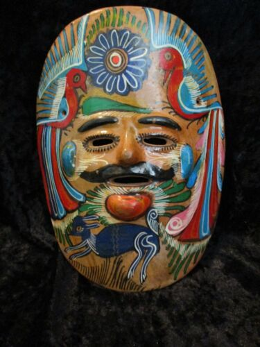 Vintage Mexican Folk Art Pottery Clay Hand Painted Wall Hanging Mask w/Deer