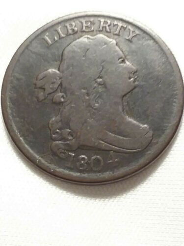 1804 Draped Bust Half Cent. C-5 R4 Spiked Chin.