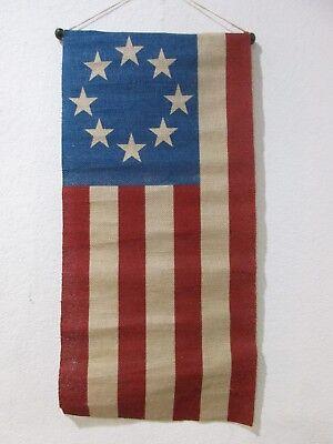 Patriotic 4th of July Americana Burlap Flag Star Stripes Wall Banner Decoration