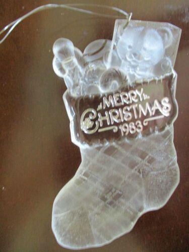 "Hallmark 1983 Holiday Ornament Christmas Stocking w/Toys Clear Acrylic 4.5"""