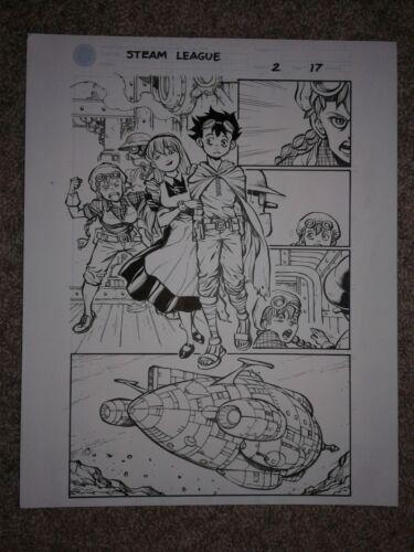 Ben Dunn STEAMLEAGUE 2 pg 17 GIRLS FIGHT OVER BOY + COOL ROBOT & SHIP