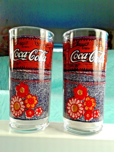 Set of 2 Vintage Coca Cola The Denim Collection Glasses From McDonald