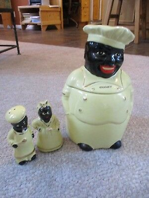 Vintage Pearl China Americana Yellow Cooky Chef Black 22k Gold Cookie Jar 689