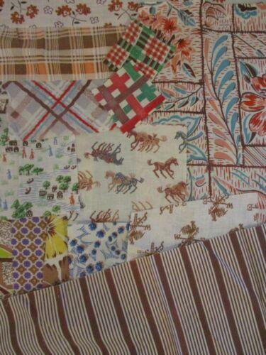 Vintage Cotton Feedsack Fabric Scrap Lot Pieces Brown Prints Novelty Stripe