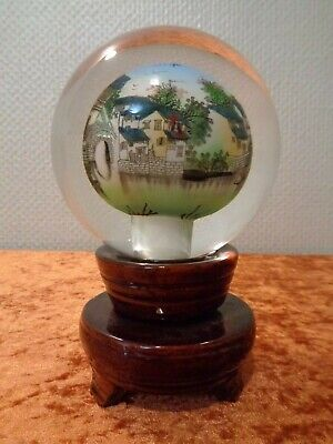 Glas Ball Paperweight from inside Hand Painted - Diameter 10 cm - 1350 G