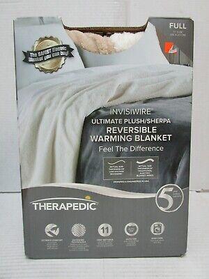 THERAPEDIC INVISIWIRE PLUSH REVERSIBLE WARMING BLANKET FULL LINEN 77x 84 VVV 237