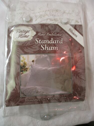 1991 Vintage Home Hand Embellished white Pillow Sham Battenburg Lace