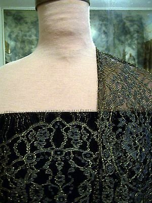 4pnls FRENCH CHANTILLY LACE PEWTER BORDERS ON BLK NET W/ METALLIC GOLD or SILVER for sale  Shipping to India