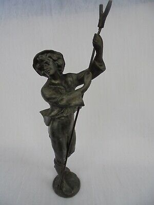 ANTIQUE SPELTER FIGURE OF A YOUNG SHEPHERD BOY