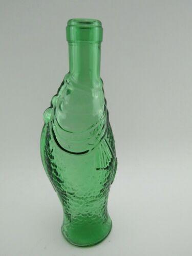 "Vintage Sculptured Fish Shaped Decor Green Glass Decanter Bottle 10"" Tall"