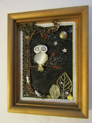 Jewelry Art;  Snowy Owl on a Limb;  5x7 framed; Vintage chains & other media.