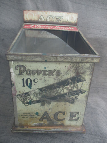 VINTAGE EARLY 1900s POPPERS ACE CIGAR TOBACCO TIN STORE DISPLAY CAN w AIRPLANE