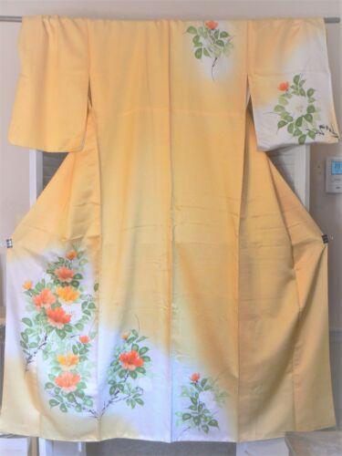 "JK 194 ""Yellow Floral"" Vintage Silk Japanese Kimono Houmongi Tsukesage Large Sz"