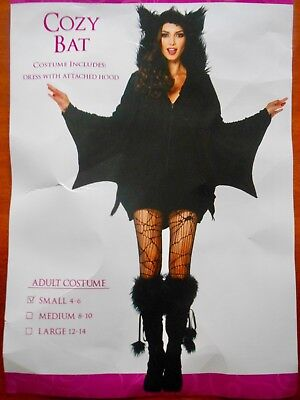 Female Bat Costume (Black Cozy Bat Halloween Costume - Female / Women's - Adult Size Small)