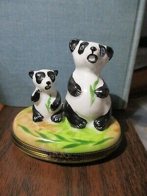 PANDA MOTHER &  CUB W/ BAMBOO LIMOGES TRINKET BOX Made in France LK