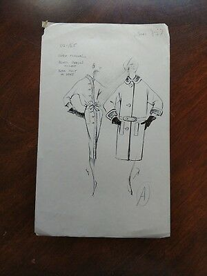 Vintage Fashion Stat Sheet 1950s-60s CHRISTIAN DIOR Winter Coat & Ruffled Dress