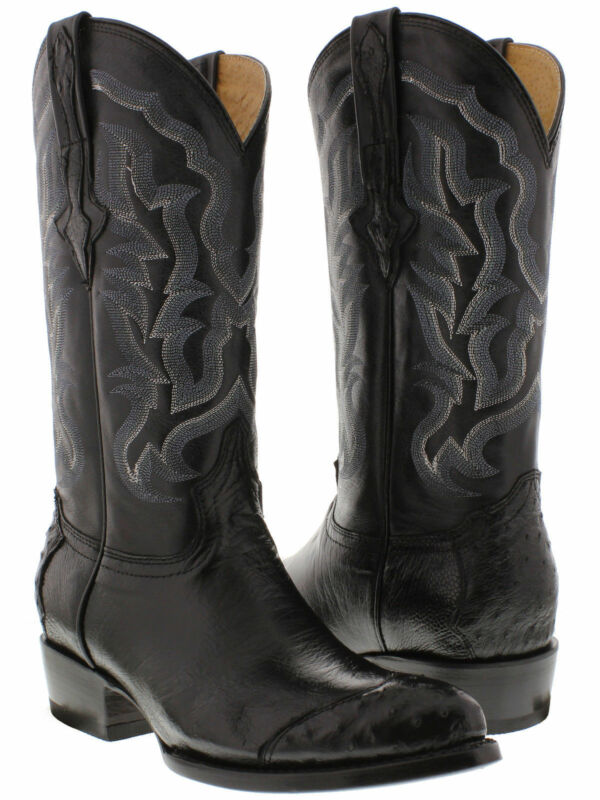 mens, black, real, smooth, ostrich, skin, crocodile, leather, cowboy, boots, wing, tip