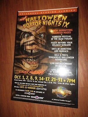 HALLOWEEN HORROR NIGHTS IX 1999 PROMO POSTER CARDBOARD HHN ](Promo Halloween Horror Nights)