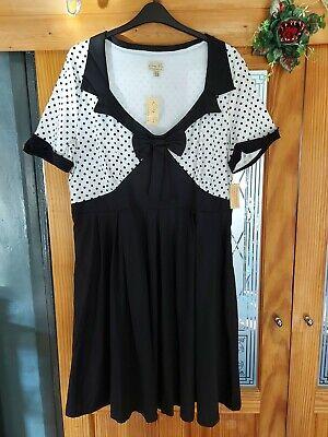 BNWT 26 LINDY BOP BLACK WHITE SWING 50S ROCKABILLY DRESS CURVE PLUS PIN UP