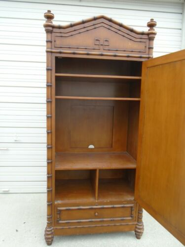 Fretwor Faux Bamboo Armoire Asian Cabinet Hutch Highboy Pantry Hollywood Regency