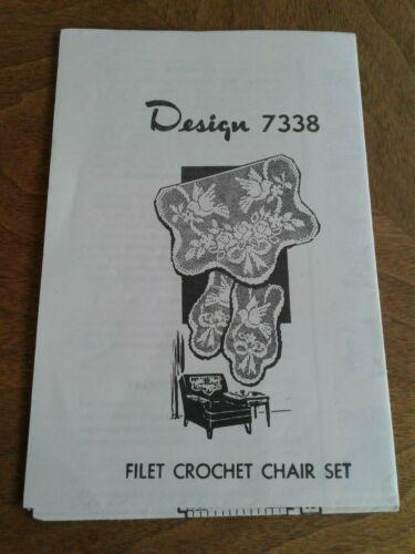 40s Vintage Design 7338 Filet Crochet Chair Set Pattern Alice Brooks? FREE SHIP