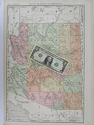 AZ Map. 1902 Dated 1900s Rand McNally ARIZONA Map Art Print Decor Railroad - $15.97