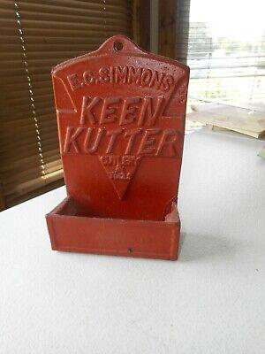 Vintage EC Simmons Keen Kutter Cast iron Red Knife Match Holder Hanging