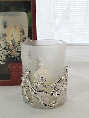 Gorham Snowmen Silver Plated Votive w/ Frosted Glass Insert Candle Holder NEW