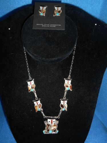 Zuni Inlay Owl Necklace and Earrings  ABA - 14832,14834