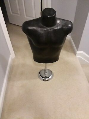 Black Mannequin Torso Upper Body Hard Plastic With Stand 30 Tall 2.5 Feet