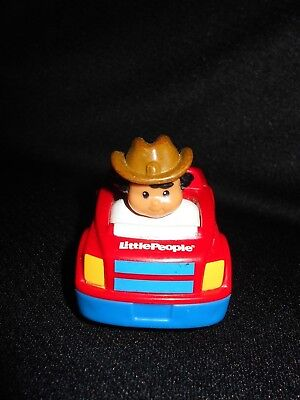 2009 Mattel Fisher Price Little People Red Tractor with Cowboy