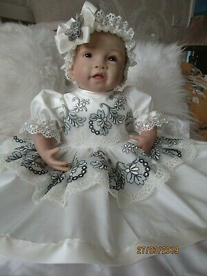 """CLOTHES FOR BAby 3-6mths /REBORN doll 22 """" all cream/grey two piece set NEW"""
